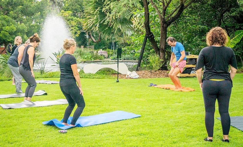 yoga garden stretch koi pond - Yoga in the garden at Miami Beach Botanical Gardens