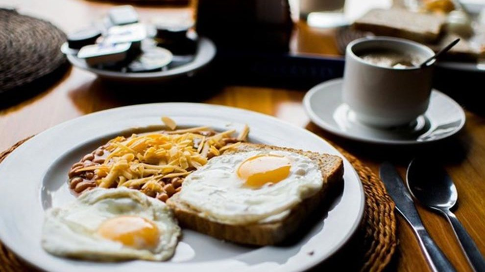Breakfast and eggs on a plate