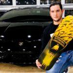 Enrique Enn Lamborghini skateboard painting